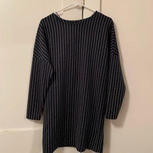 Zara Navy Silver Striped Mini dress